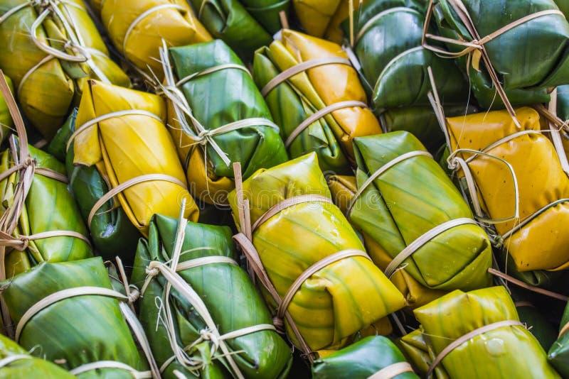 Thailändischer Artnachtisch, gemacht von der Banane lizenzfreie stockbilder