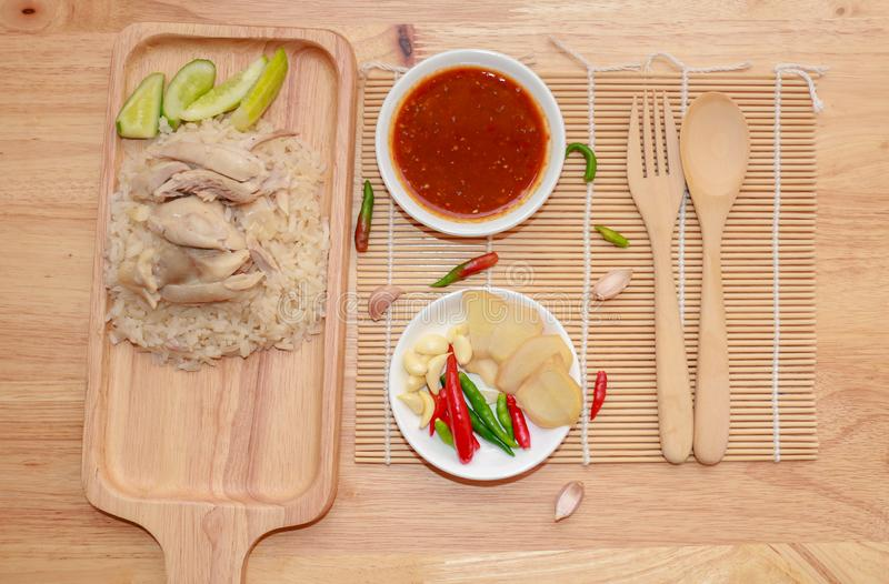 Thailändischer Feinschmecker gedämpftes Huhn mit Reis stockfoto