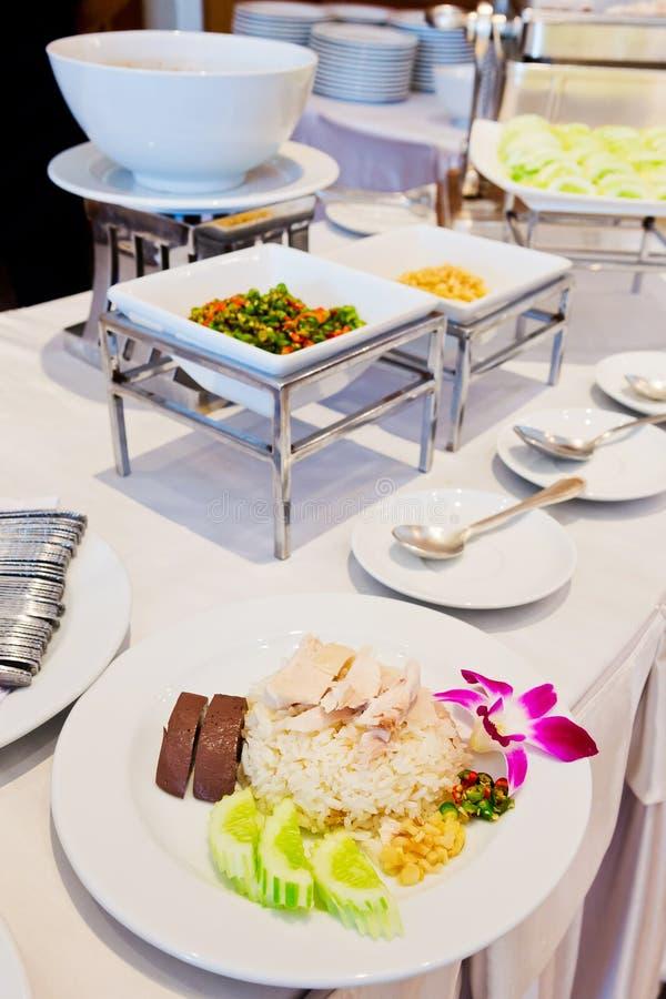 Thailändischer gedämpftes Huhn des Lebensmittels Feinschmecker mit Reis stockbilder