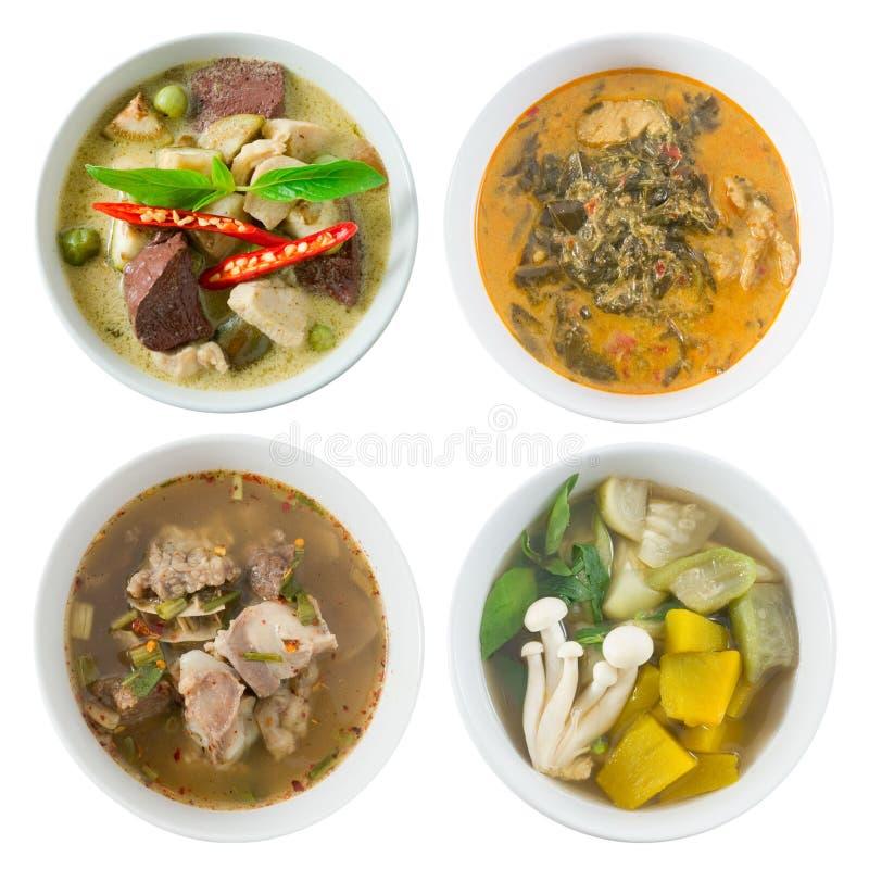 Thailändischer grüner Curry, Gewürz und Suppe mit Gemüse-Suppe stockbild