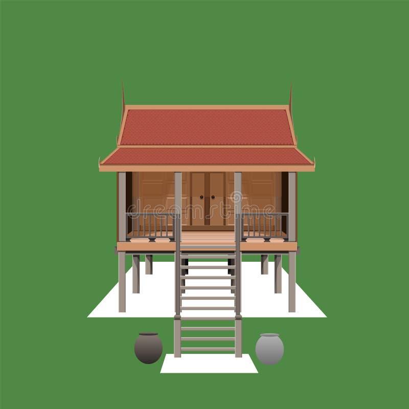 Thailändischer Hausarchitekturentwurfsartkunstausgangshüttenbau hölzernes illustation stock abbildung