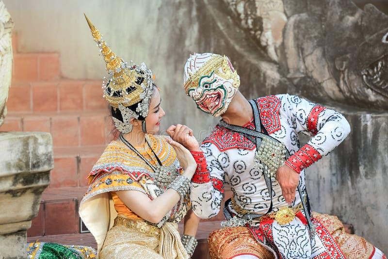 Thailändischer klassischer Maskentanz des Ramayana-Dramas stockfotos