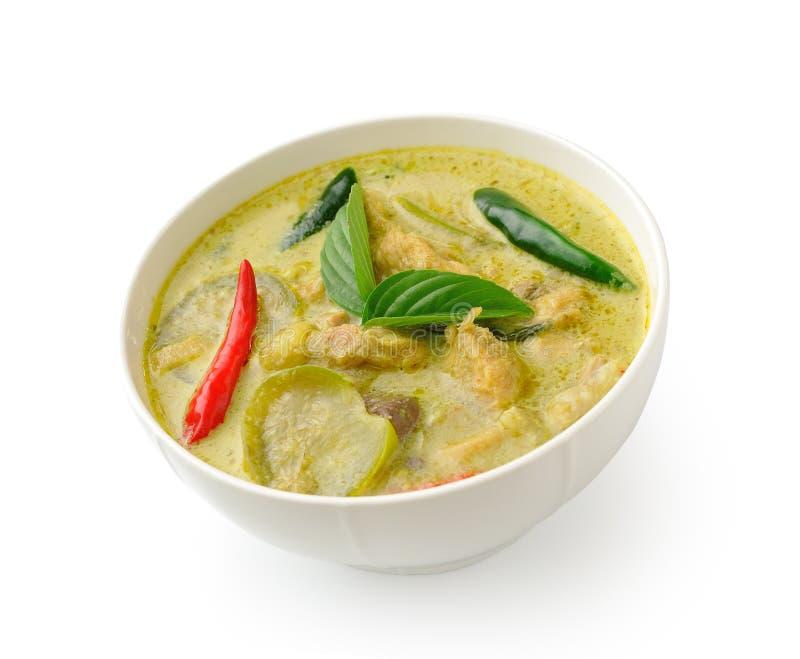 Thailändischer Lebensmittelhühnergrüncurry im weißen bolw stockbilder