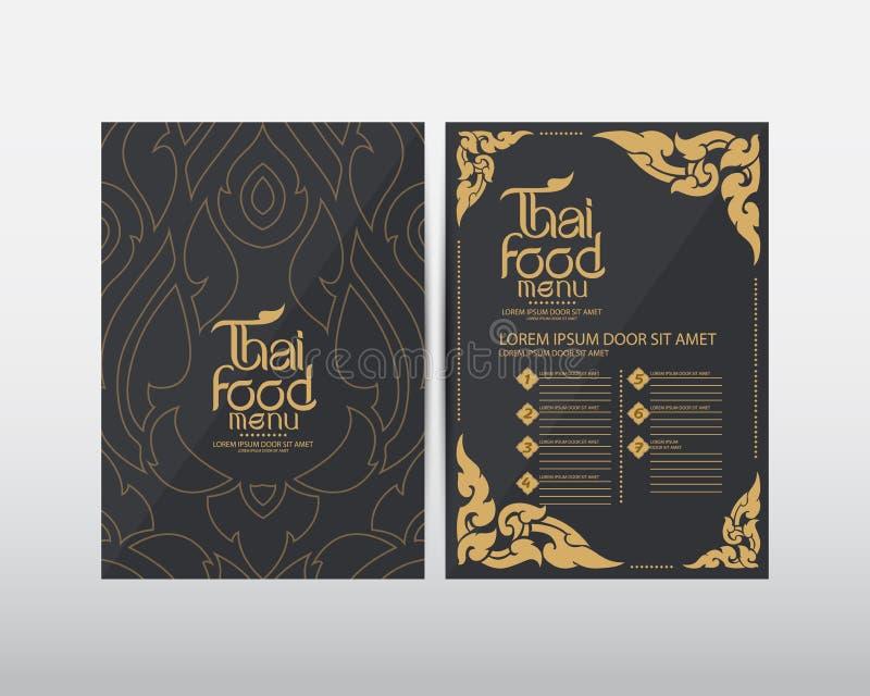Thailändischer Lebensmittelmenü-Schablone Vektor stockfoto