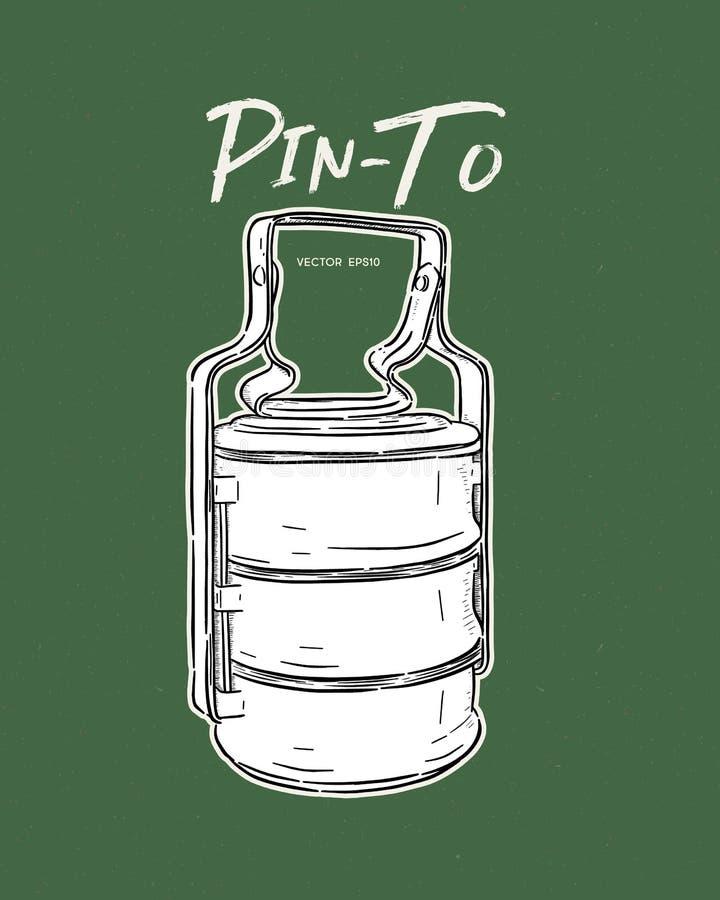 thailändischer Lebensmittelunternehmer/ Tiffin-Träger oder Pinto für Lebensmittel Handzeichenkettenvektor lizenzfreie abbildung