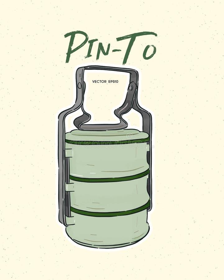 thailändischer Lebensmittelunternehmer/ Tiffin-Träger oder Pinto für Lebensmittel Handzeichenkettenvektor vektor abbildung