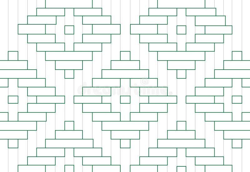 Thailändischer Musterentwurf mit Grüner Grenze stock abbildung