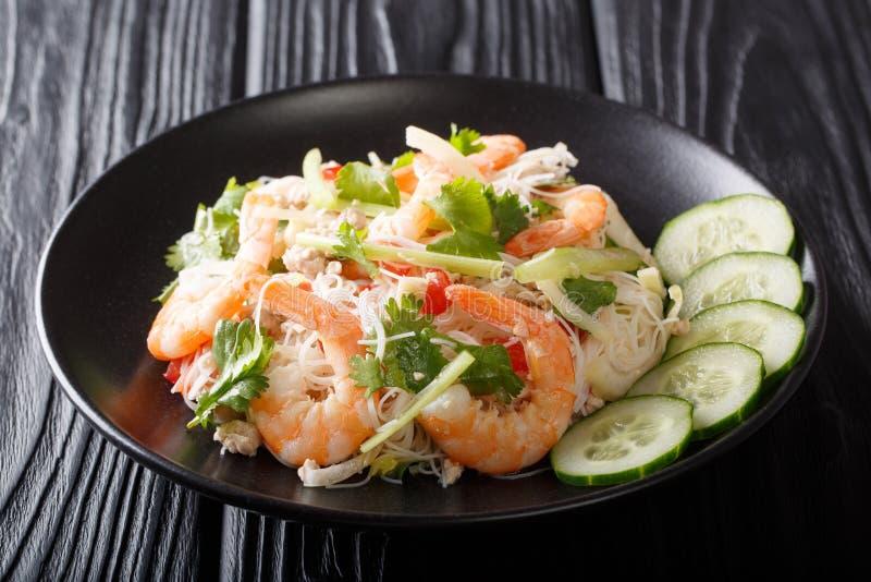 Thailändischer Rezept Yum Woon Sen-Salat mit Garnele, Schweinefleisch und Gemüsenahaufnahme auf einer Platte horizontal stockbild