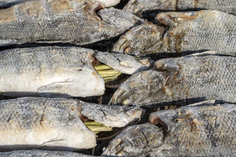 Thail?ndischer Stra?enh?ndler verkauft gegrillte Fische am Stra?enmarkt in Koh Phangan, Thailand Abschluss oben lizenzfreie stockfotografie