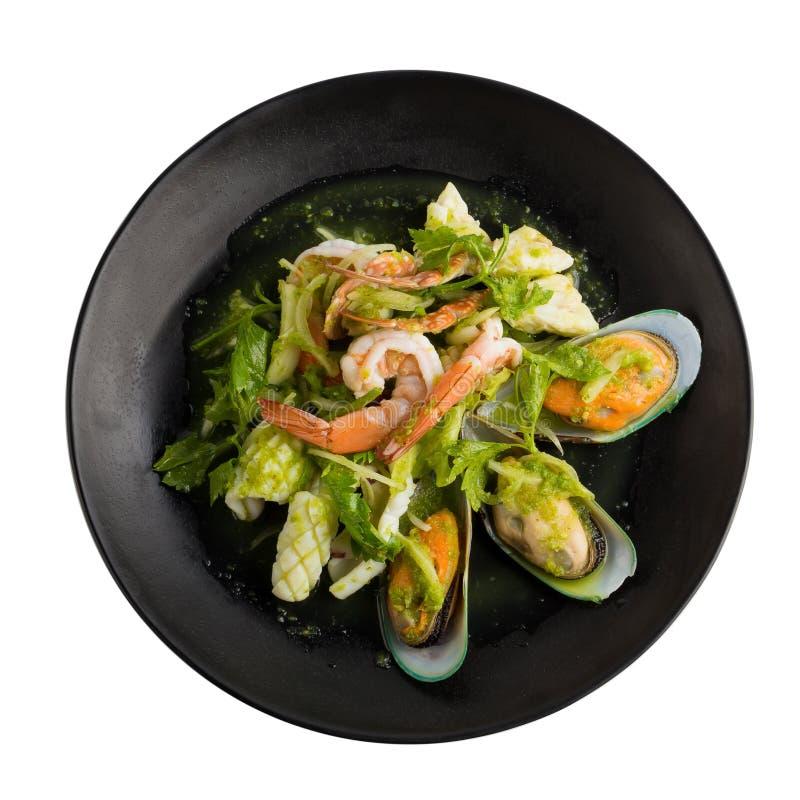 Thailändischer würziger Meeresfrüchtesalat mit Garnele, Neuseeland-Miesmuschelisolat lizenzfreie stockfotos