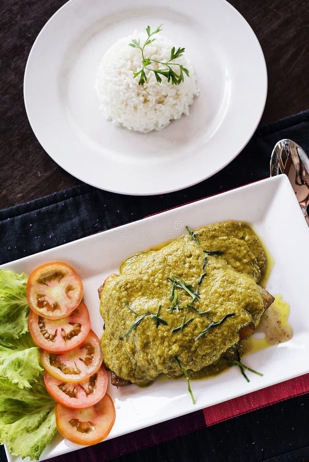 Thailändisches Fischfilet mit asiatischer grüner Currysoßemahlzeit lizenzfreie stockfotos