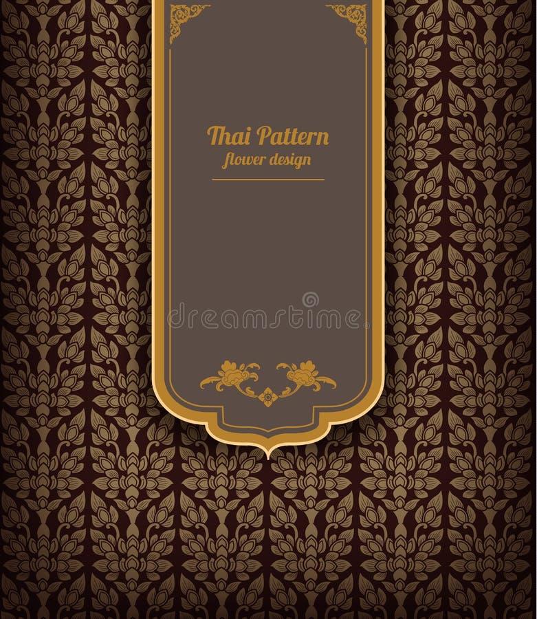 Thailändisches Kunstmuster auf braunem Hintergrund, Blumenart, thailändische Musterfahne Vektor stock abbildung