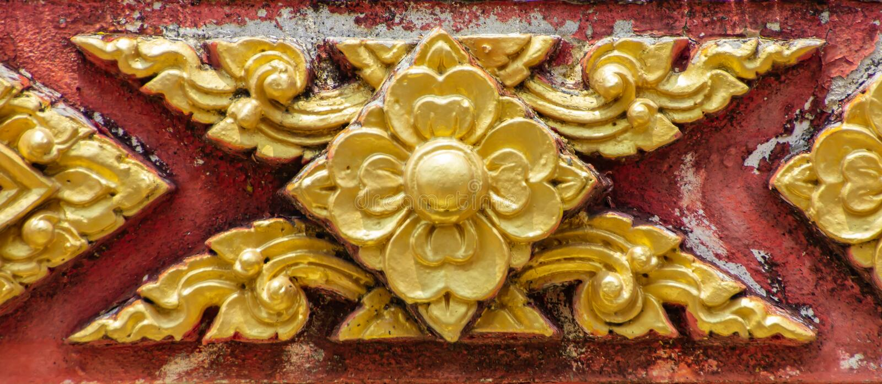 Thailändisches Muster ist eine Blumenform mit altem stockbilder