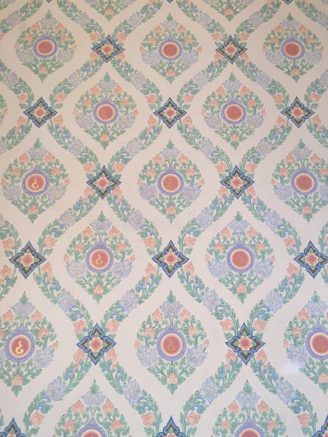 Thailändisches Muster, Wand, Tapete, Tempel lizenzfreie stockfotografie