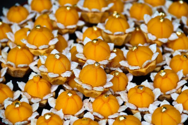 Thailändisches Nachtische Cha-mongkut süßes Lebensmittel schönes handmad stockfoto