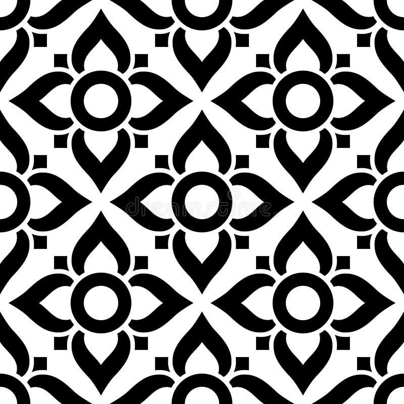 Thailändisches Nahtloses Muster Mit Blumen - Schwarzweiss-Fliese ...
