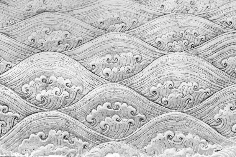 Thailändisches silbernes Muster macht Wand im Tempel von Thailand Lanna in Handarbeit stockfotos