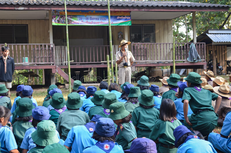 Thailändisches Studentenpfadfinderlager stockfotografie