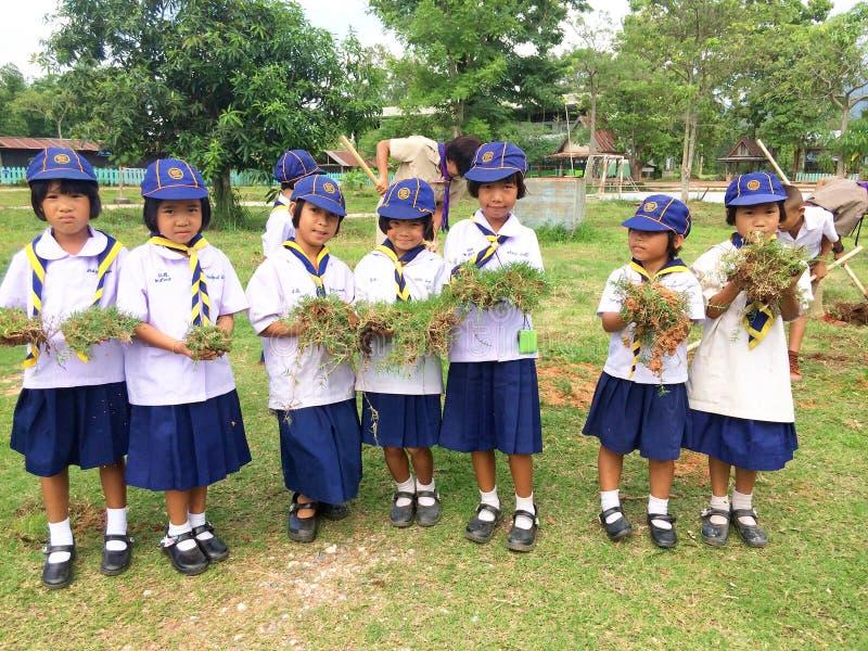 Thailändisches Studentenpfadfinderlager stockbild