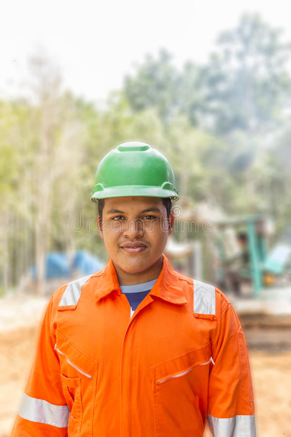 Thailändsk arbetare för konstruktionsplats fotografering för bildbyråer