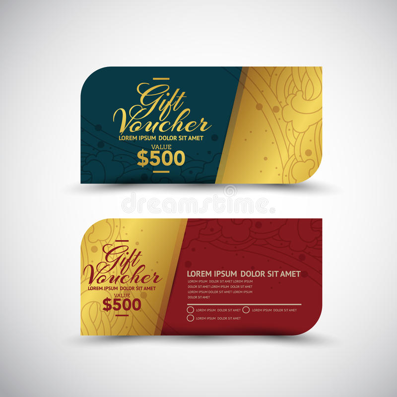Thailändsk Art Gift Voucher designvektor stock illustrationer