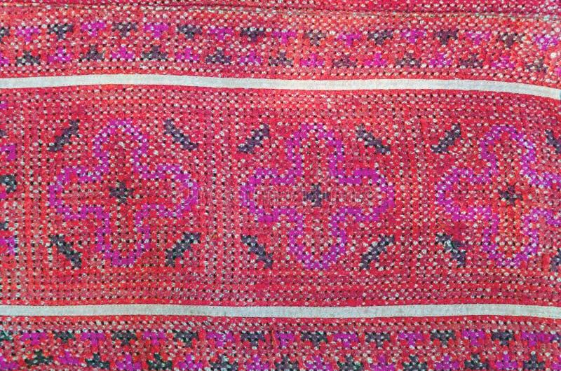 Thailändsk broderi, handgjord stamtextilstil fotografering för bildbyråer