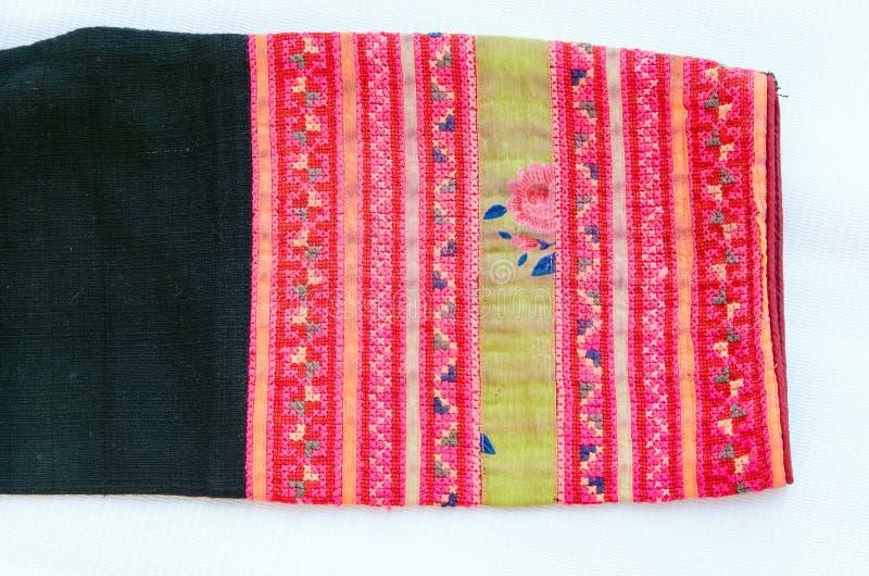 Thailändsk broderi, handgjord stamtextilstil royaltyfri bild