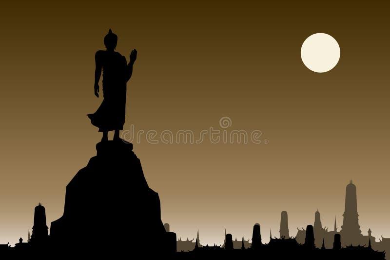 Thailändsk buddha kontur på sepiabakgrund och thailändsk tempel Vecto stock illustrationer