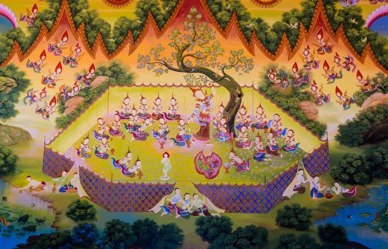 Thailändsk buddistisk väggmålning royaltyfri fotografi