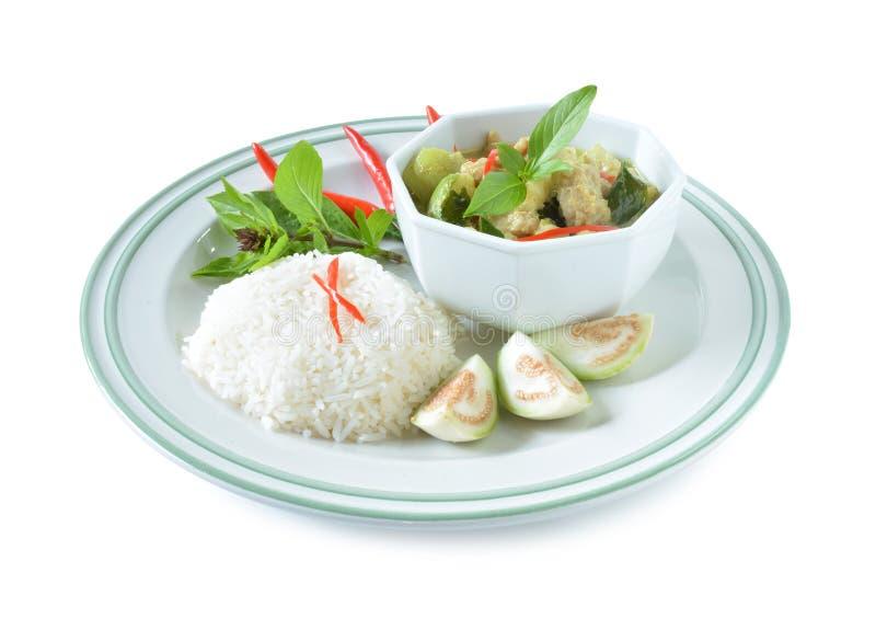 Thailändsk curry och ris fotografering för bildbyråer