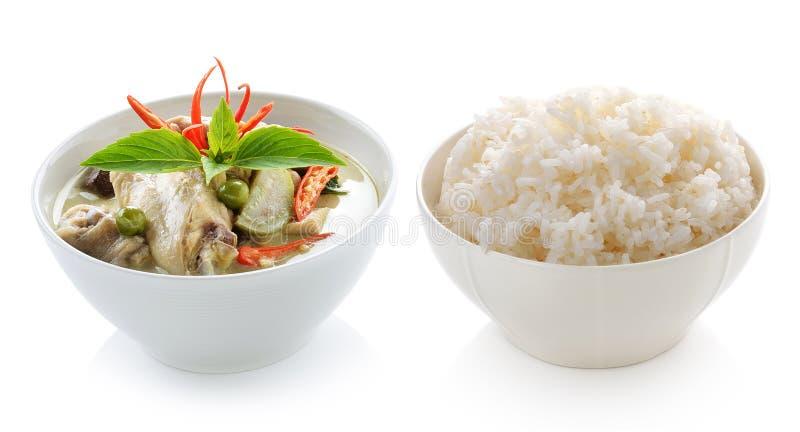 Thailändsk curry och ris för mathönagräsplan fotografering för bildbyråer
