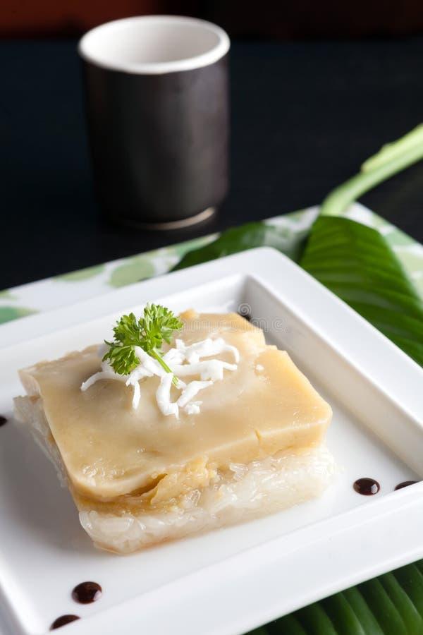 Thailändsk custard med klibbig rice arkivfoto
