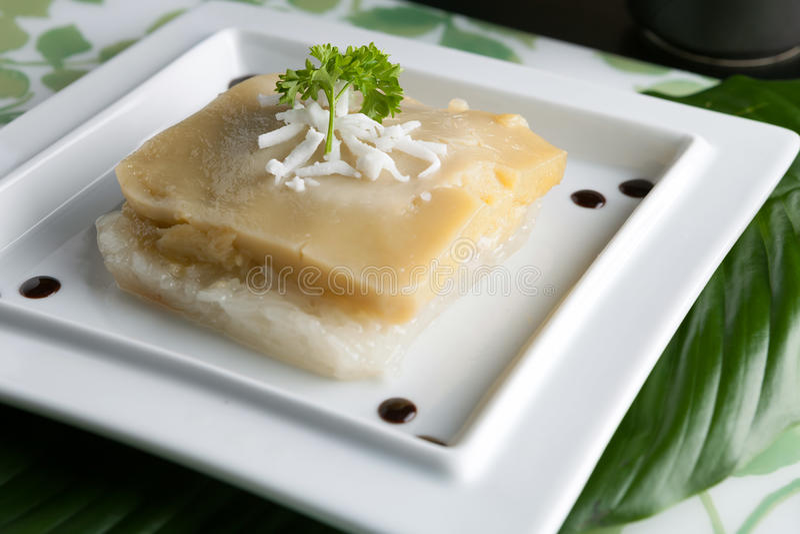 Thailändsk custard med klibbig rice royaltyfri bild