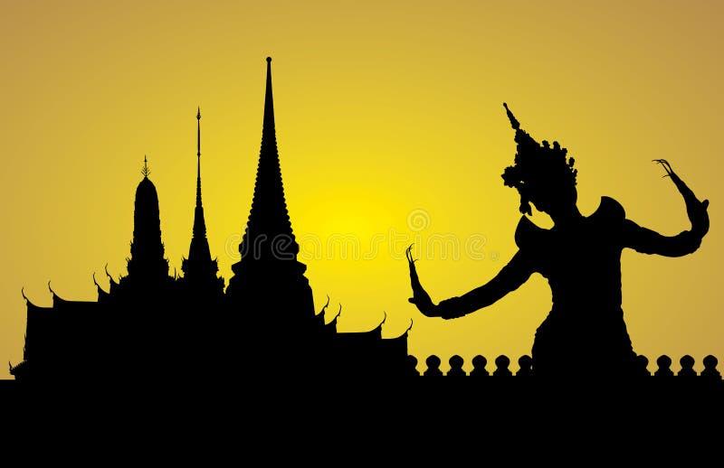 Thailändsk danskvinna med templet vektor illustrationer
