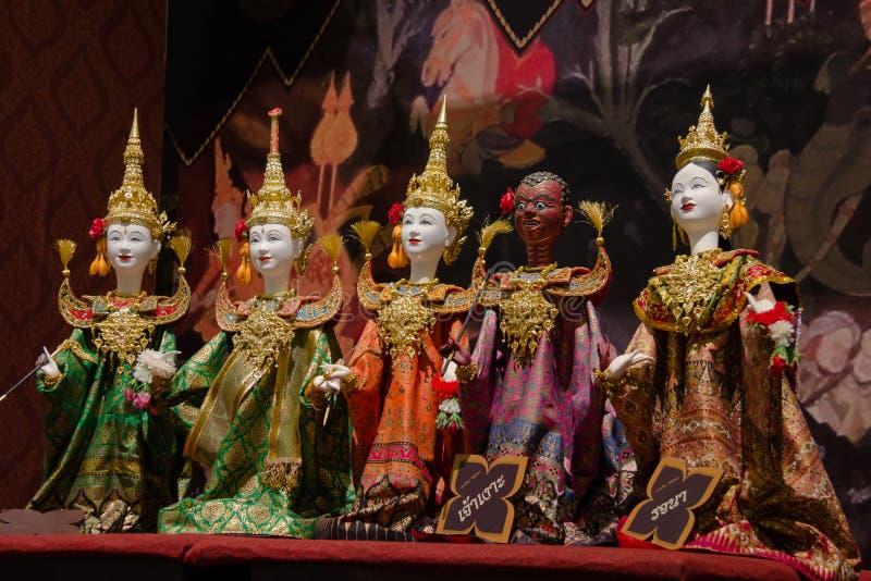 Thailändsk dockteaterföreställning på Bangkok, Thailand royaltyfri fotografi