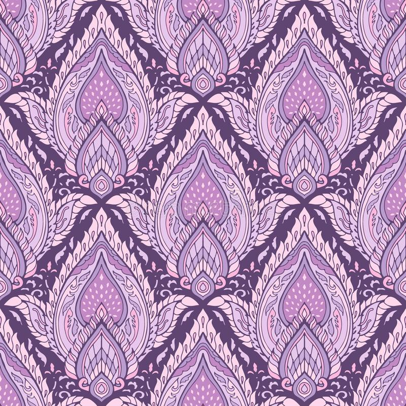 Thailändsk eller thailändsk traditionell prydnaddesign för linje med bladet för Boho det stam- stilkronblad av färg för signal fö vektor illustrationer