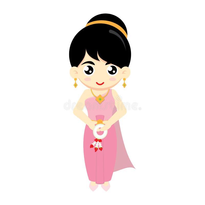 Thailändsk flicka också vektor för coreldrawillustration stock illustrationer