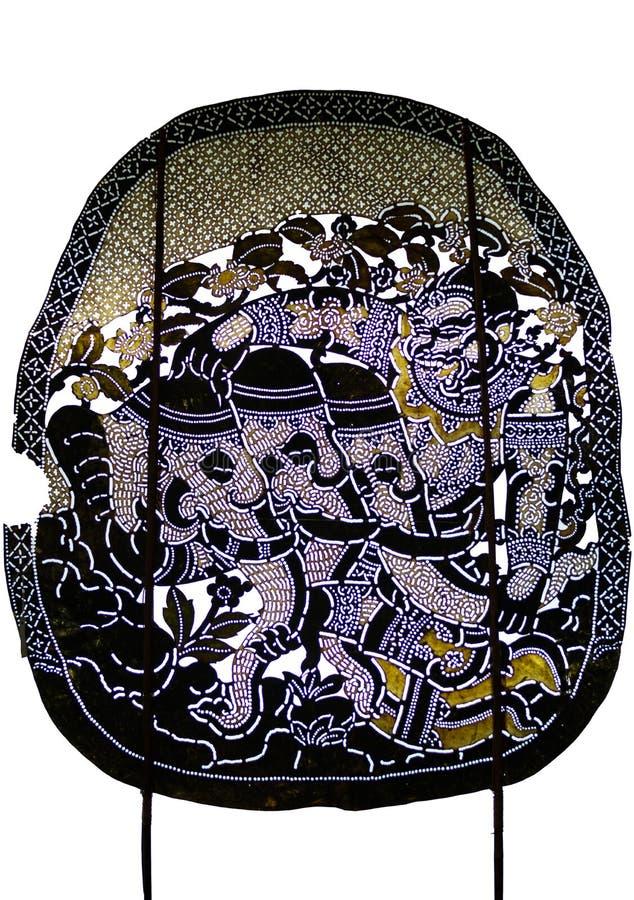 Thailändsk forntida skuggalek, skuggadockatecken från Ramakien Ramayana: Hanuman Tears huvudet av Erawanen arkivfoton