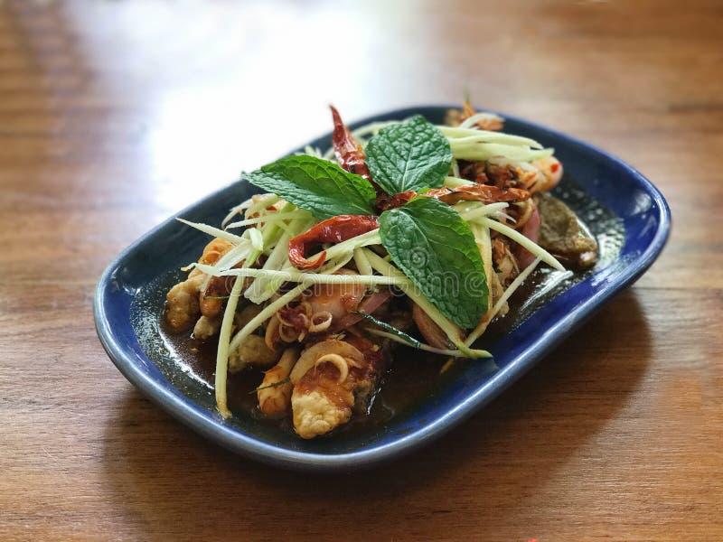 Thailändsk fusionmat, stekt kryddig sallad för lax royaltyfri fotografi