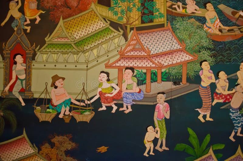 Thailändsk gammal livsstil 300 år sedan. Lyckligt kungarike.