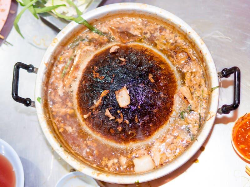 Thailändsk grillad BBQ-buffépanna arkivbild
