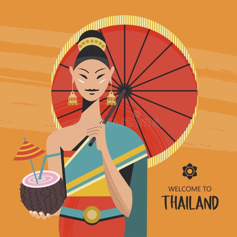 Thailändsk härlig flicka i nationell thailändsk klänning med kokosnötcoctailen i hand också vektor för coreldrawillustration royaltyfri illustrationer