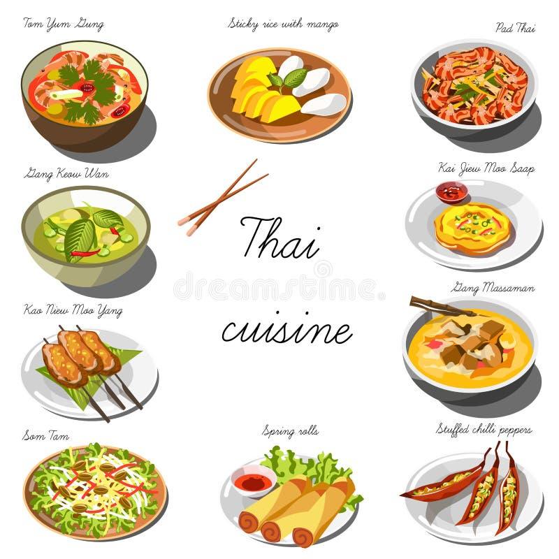 Thailändsk kokkonstuppsättning Samling av matdisk stock illustrationer