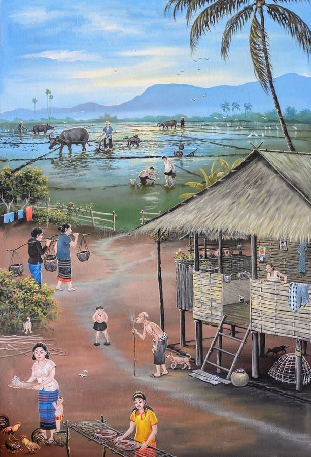 Thailändsk konst för vägg- målning royaltyfri fotografi