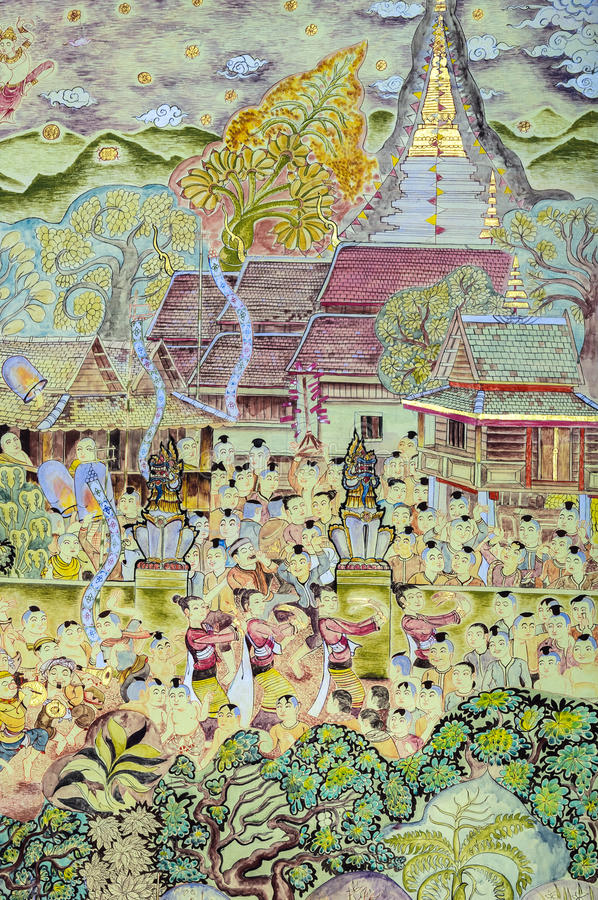 Thailändsk konst för vägg- målning av den Lanna Buddhist festivalen royaltyfri fotografi