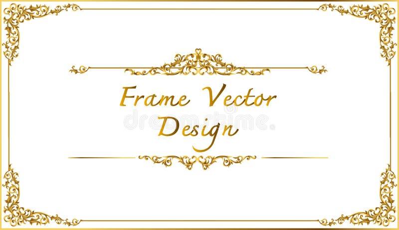 Thailändsk konst, guld- gränsram med den Thailand linjen som är blom- för bilden, stil för modell för vektordesigngarnering ramhö stock illustrationer