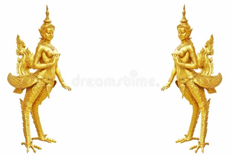 Thailändsk konstKinnaree staty: Den halva kvinnan för mytisk halv fågel arkivbilder