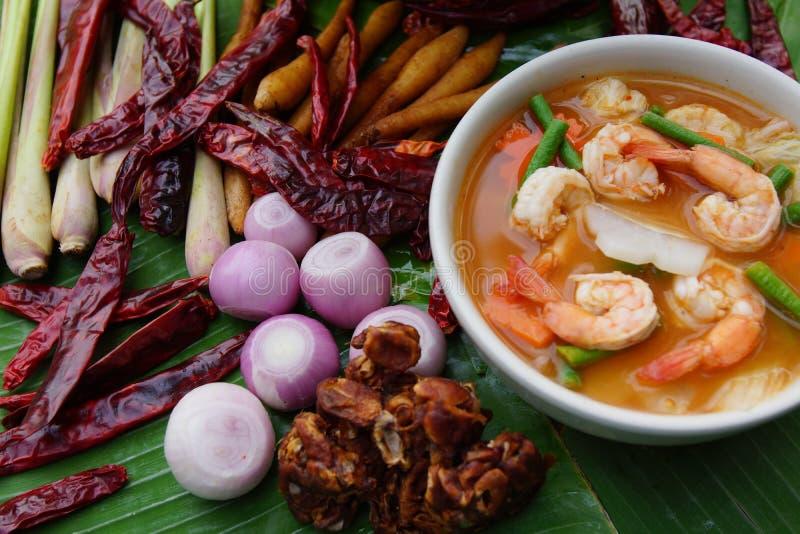 Thailändsk kryddig soppa med röd curry och räka royaltyfri foto