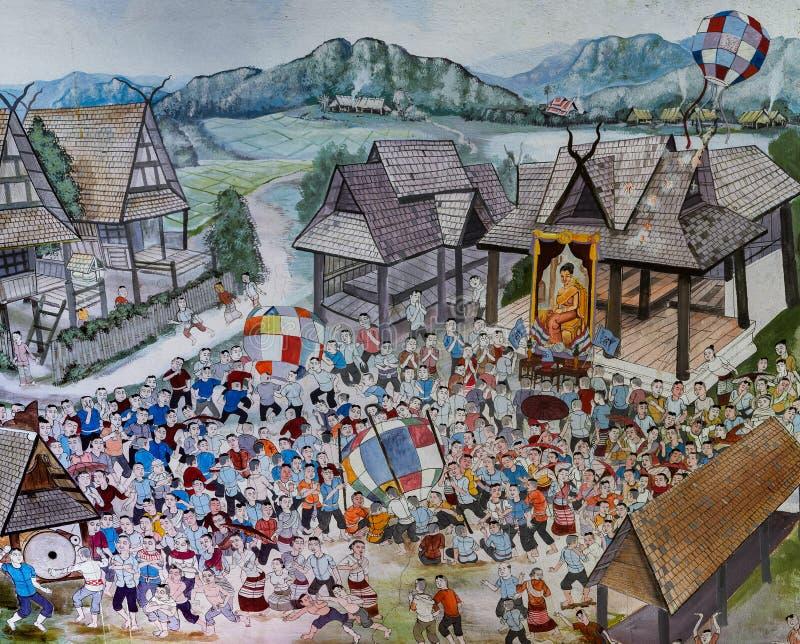 Thailändsk Lanna vägg- målning av liv för thailändskt folk tidigare på tem stock illustrationer