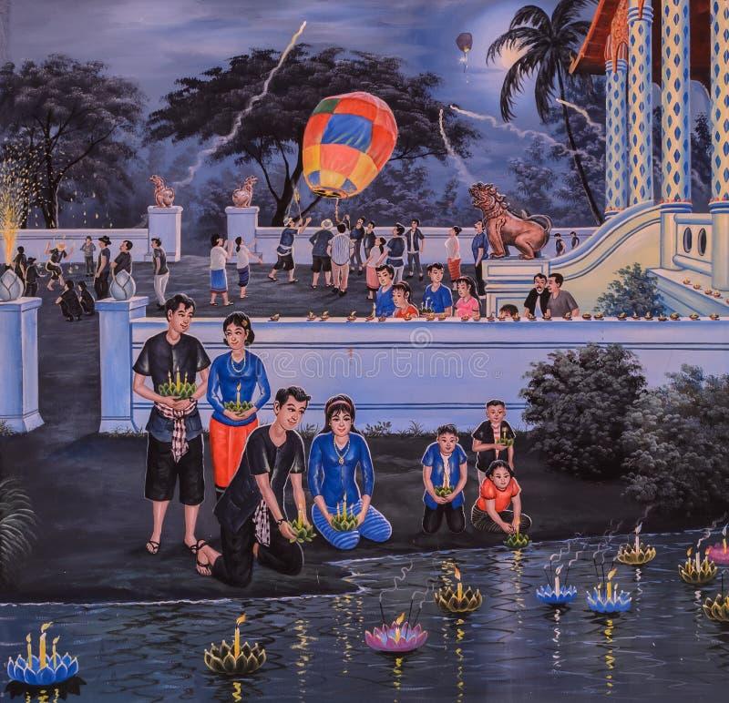 Thailändsk målning av den Loi Krathong festivalen royaltyfria foton